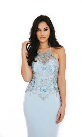 Dynasty London 1013612 Ice Blue Low Back High Neck Evening Gown Close Up