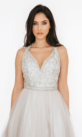Dynasty London 1013615 Silver Crystal Bodice Halterneck Ballgown Close Up