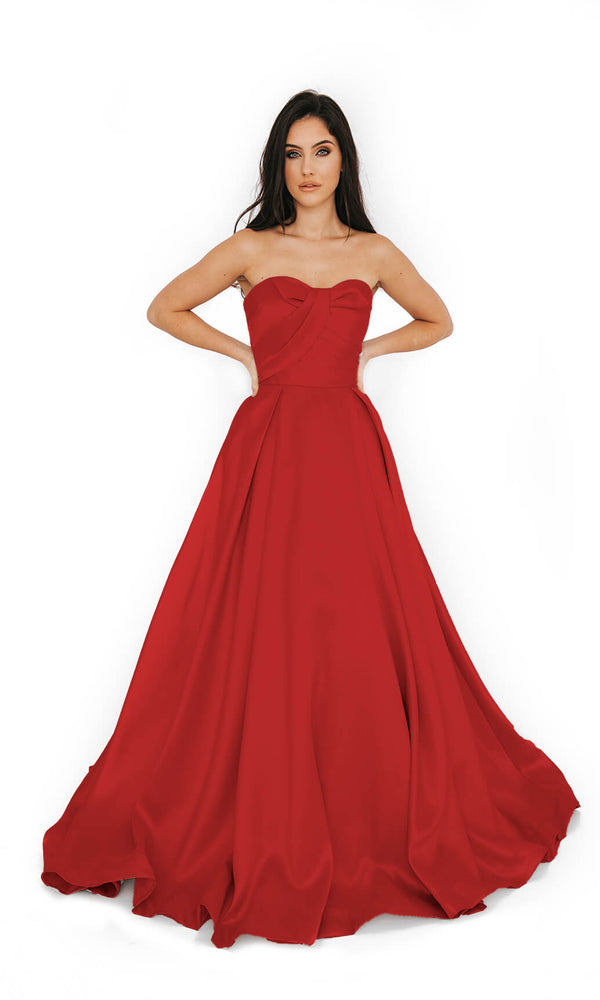 1013619 Scarlet Red Dynasty Strapless Ballgown - Fab Frocks