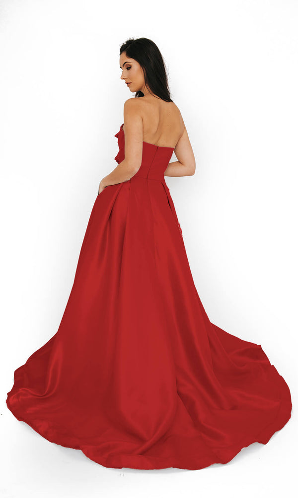 Dynasty London 1013619 Scarlet Red Strapless Ballgown Back