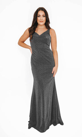 1013623 Silver Glitter Dynasty Open Back Evening Prom Gown