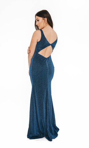 1013623 Midnight Blue Dynasty Open Back Evening Prom Gown - Fab Frocks