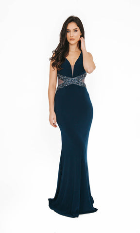 1013625 Navy Dynasty Open Back Evening Prom Dress - Fab Frocks