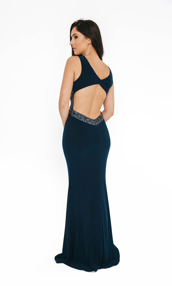 1013625 Navy Dynasty Open Back Evening Prom Dress