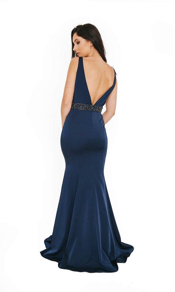 1013626 Navy Dynasty Mermaid Style Evening Prom Dress - Fab Frocks