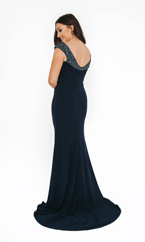 1013627 Navy Dynasty V Neck Evening Prom Dress