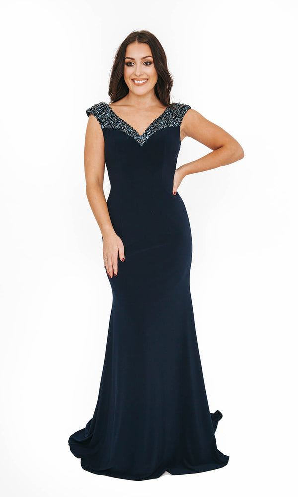 1013627 Navy Dynasty V Neck Evening Prom Dress - Fab Frocks