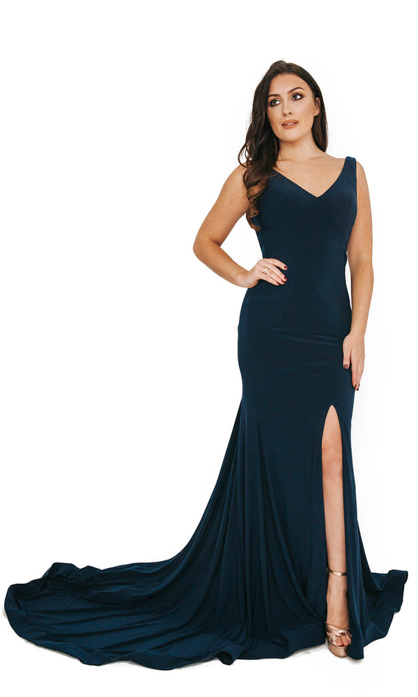 1013628 Navy Dynasty Evening Prom Dress With Mega Train