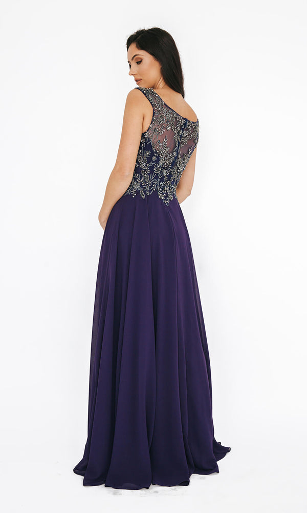 1013650 Purple Dynasty Floaty Evening Prom Gown - Fab Frocks