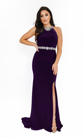 1013651 Purple Dynasty Evening Prom Dress With Split - Fab Frocks