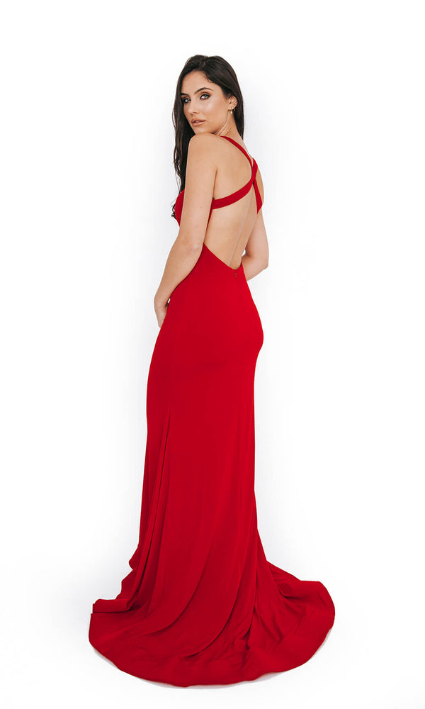 1013652 Red Dynasty Low Back Evening Prom Dress - Fab Frocks