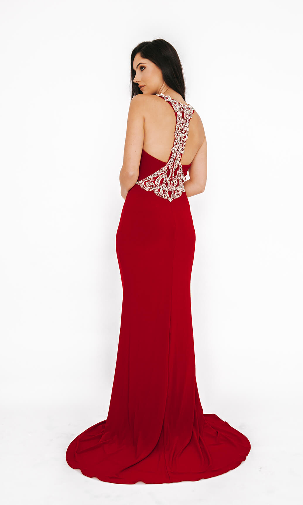 1013654 Red Dynasty Racer Back Evening Prom Dress
