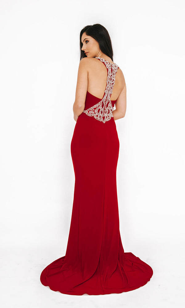 1013654 Red Dynasty Racer Back Evening Prom Dress - Fab Frocks