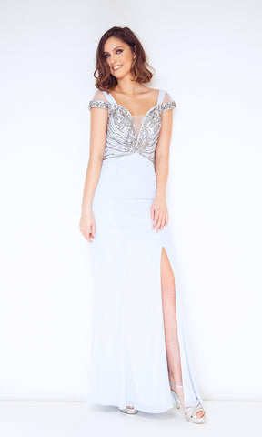 1023003 Ice Blue Dynasty Cold Shoulder Evening Dress