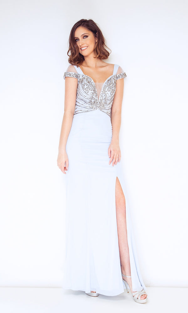 1023003 Ice Blue Dynasty Cold Shoulder Evening Dress - Fab Frocks