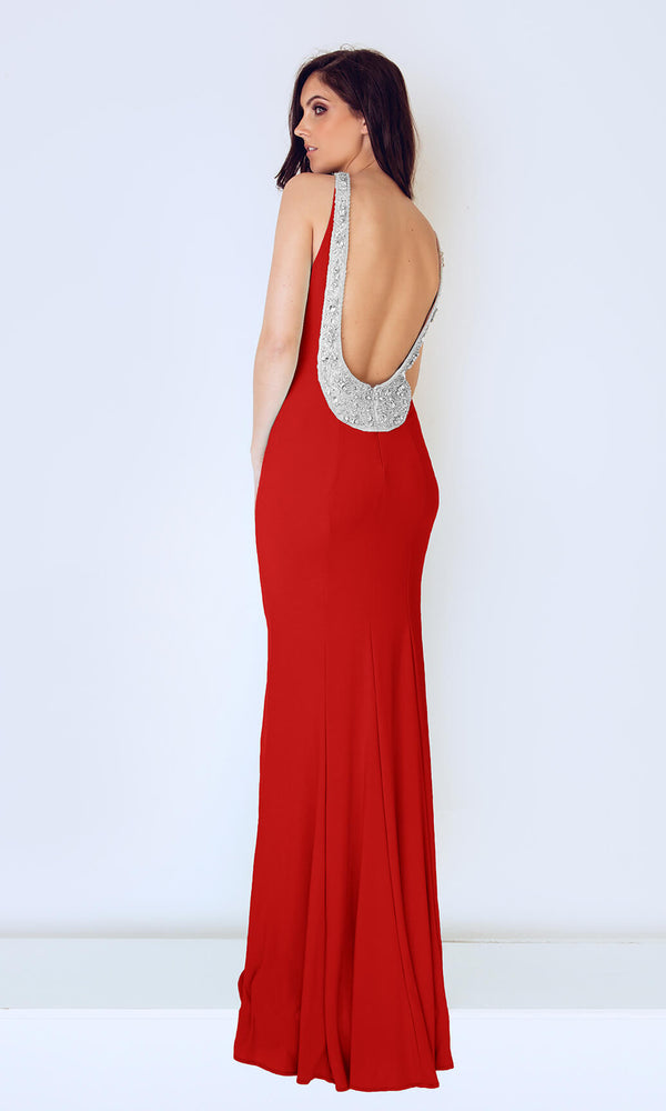 1023203 Red Dynasty Low Back Crystal Evening Prom Dress - Fab Frocks