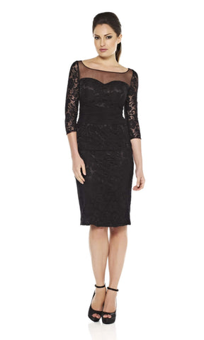 1072348 Black Dynasty Cocktail Dress With Sleeves - Fab Frocks