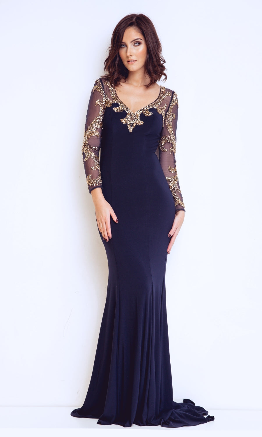 1013108 Navy Gold Dynasty Evening Dress With Sleeves - Fab Frocks