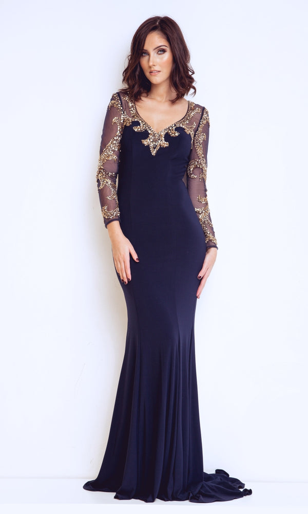 1013108 Navy Gold Dynasty Evening Dress With Sleeves