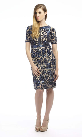 1072434 Nude Dynasty Cocktail Dress With Navy Sequins - Fab Frocks