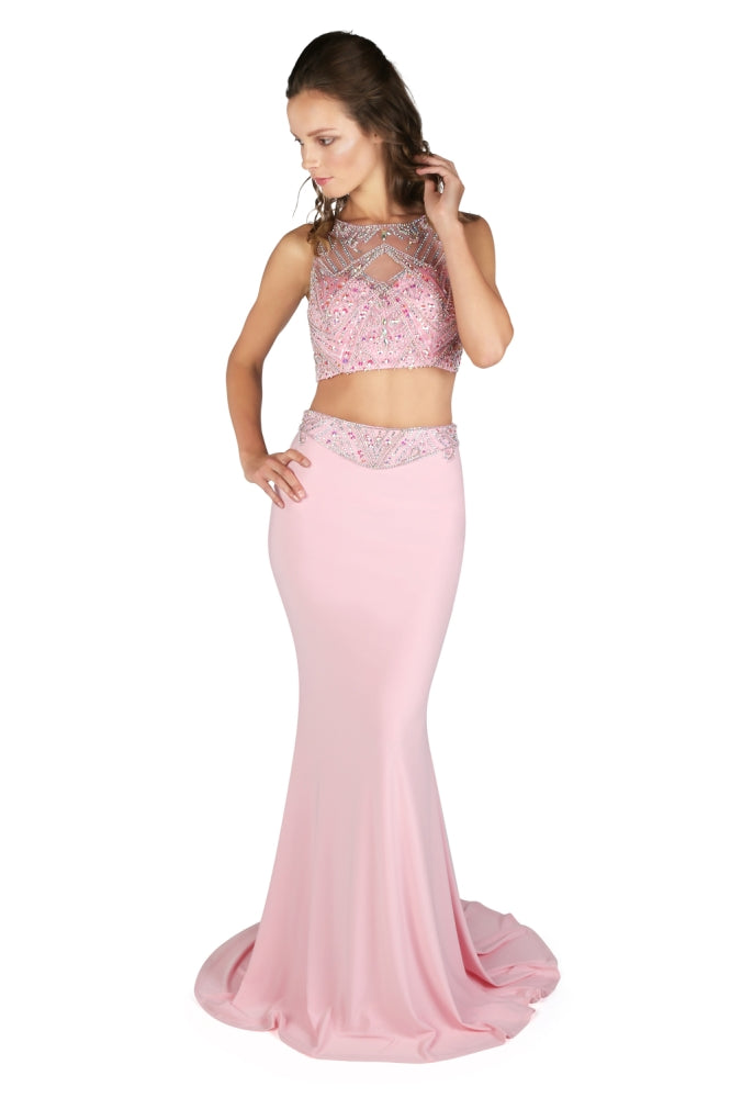 1022817 Baby Pink Dynasty 2 Piece Jersey Evening Dress - Fab Frocks