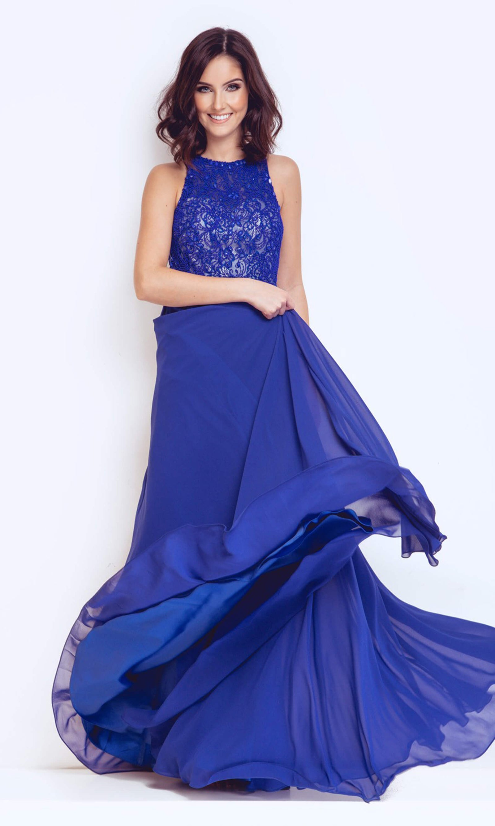 1023114 Royal Blue Dynasty Chiffon Dress With Lace Top - Fab Frocks