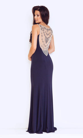 1023119 Navy Dynasty Jersey Evening Dress With Feature Back