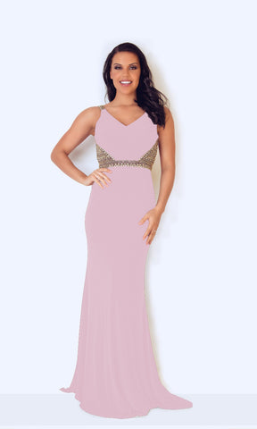 1023224 Blush Pink Dynasty Evening Dress With Low Back - Fab Frocks