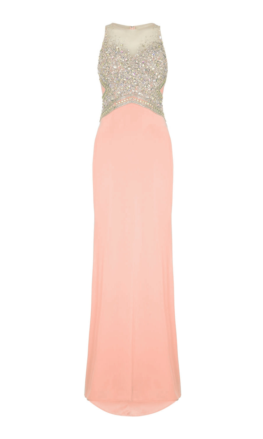 1022808 Coral Dynasty Evening Dress With Silver Beading - Fab Frocks