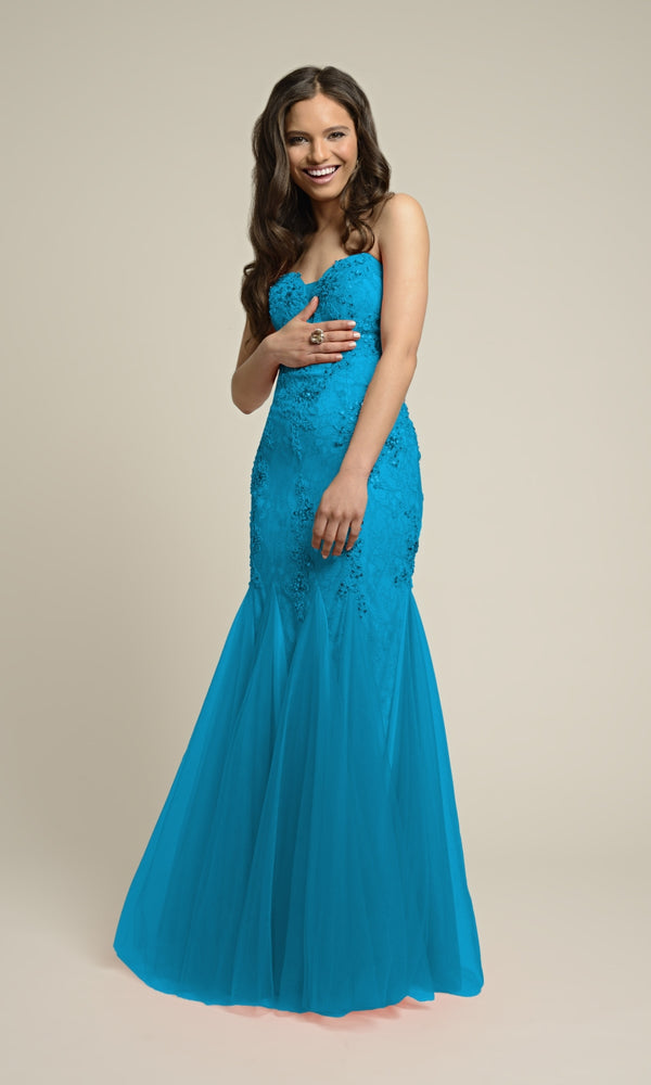 1022604 Tiffany Blue Dynasty Lace Mermaid Dress - Fab Frocks