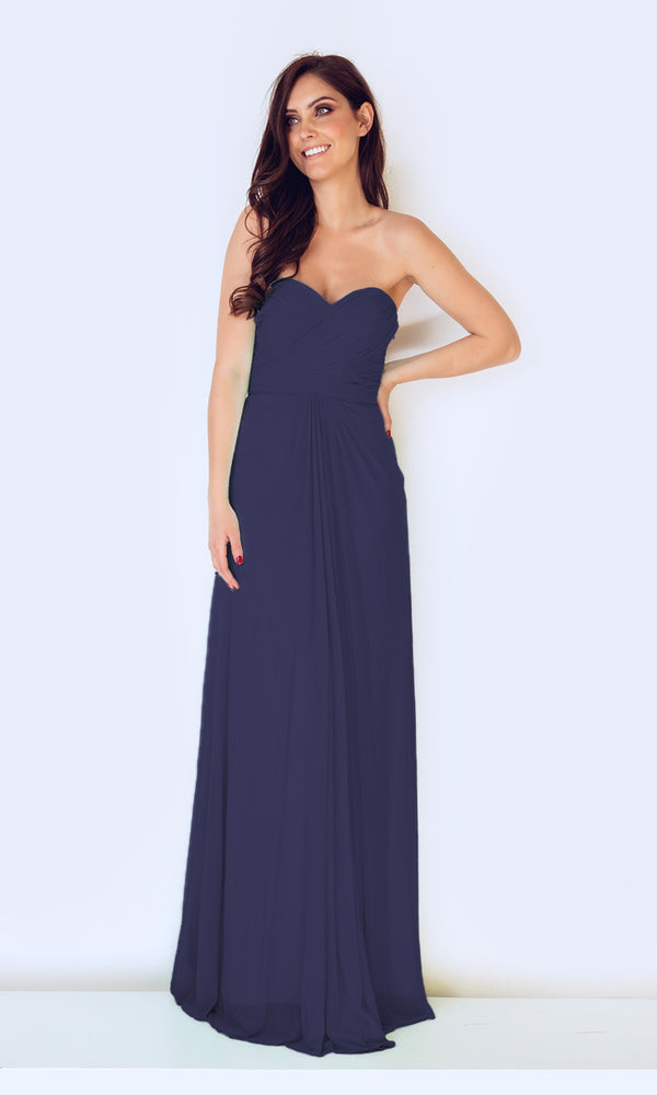 1022427 Navy Dynasty Diamante Back Strapless Dress - Fab Frocks