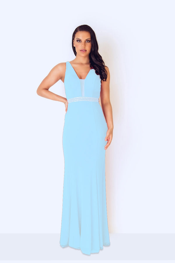 1022807 Ice Blue Dynasty Full Length Evening Dress - Fab Frocks
