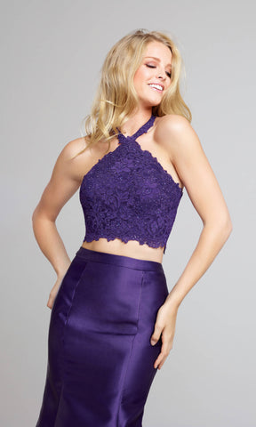 EW117004 Purple Ellie Wilde Two-Piece Fishtail Dress - Fab Frocks
