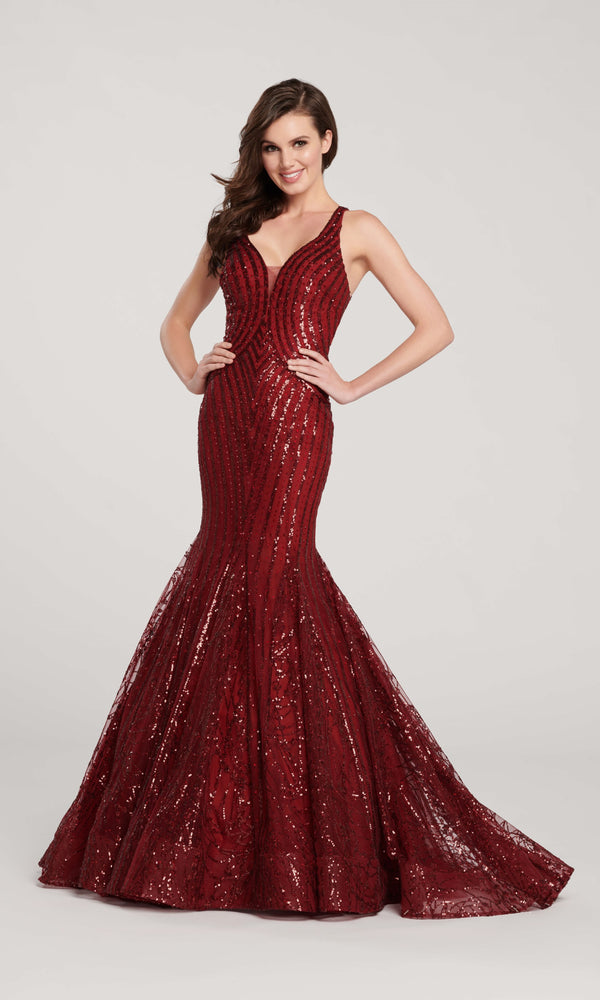 EW119025 Wine Ellie Wilde Sequin Mermaid Dress - Fab Frocks