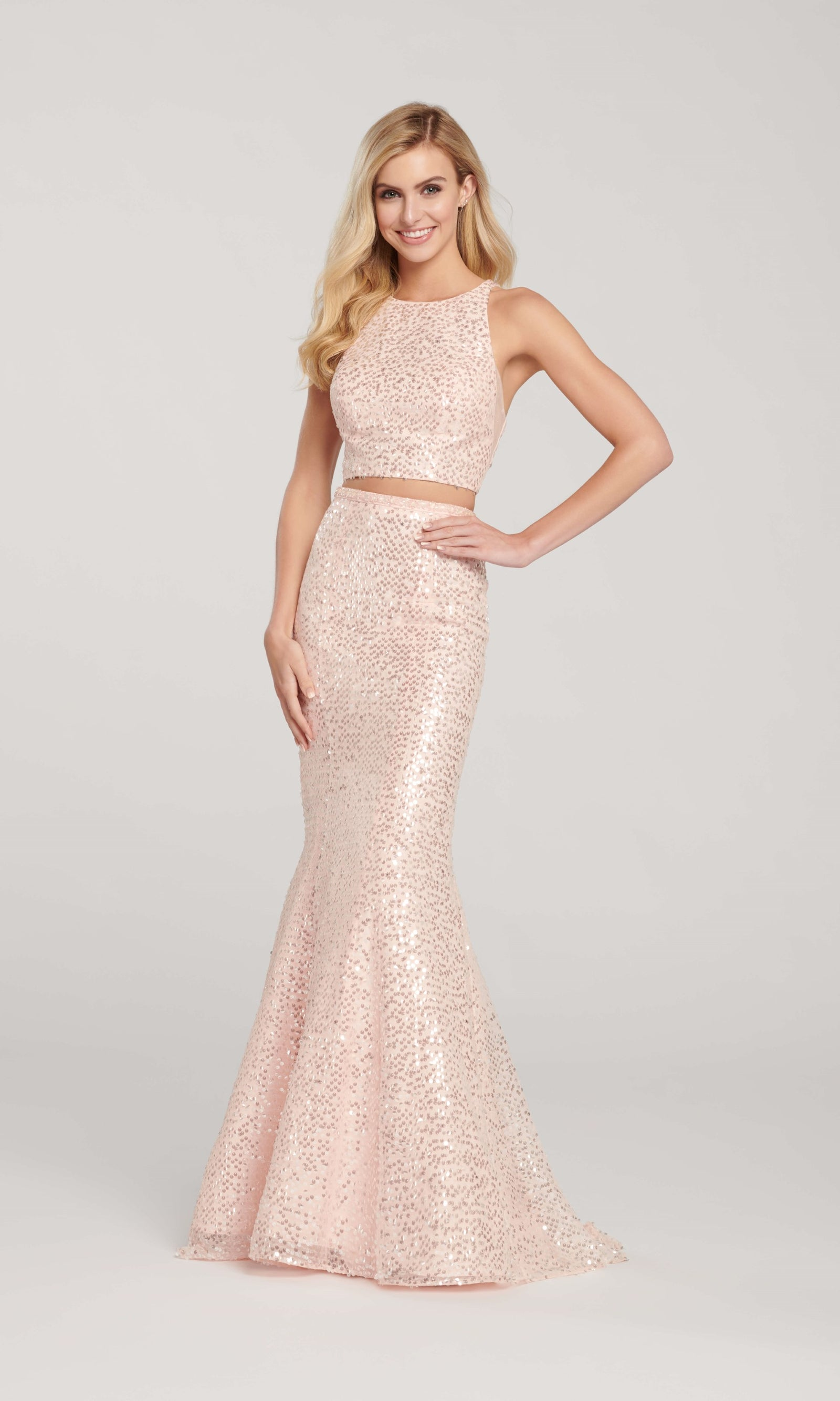 EW119058 Blush Ellie Wilde Two-Piece Sequin Mermaid Dress - Fab Frocks