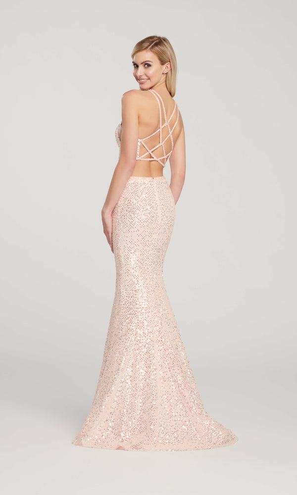 EW119058 Blush Ellie Wilde Two-Piece Sequin Mermaid Dress