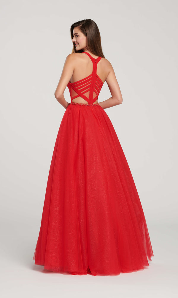 EW119090 Red Ellie Wilde Mesh Ballgown - Fab Frocks