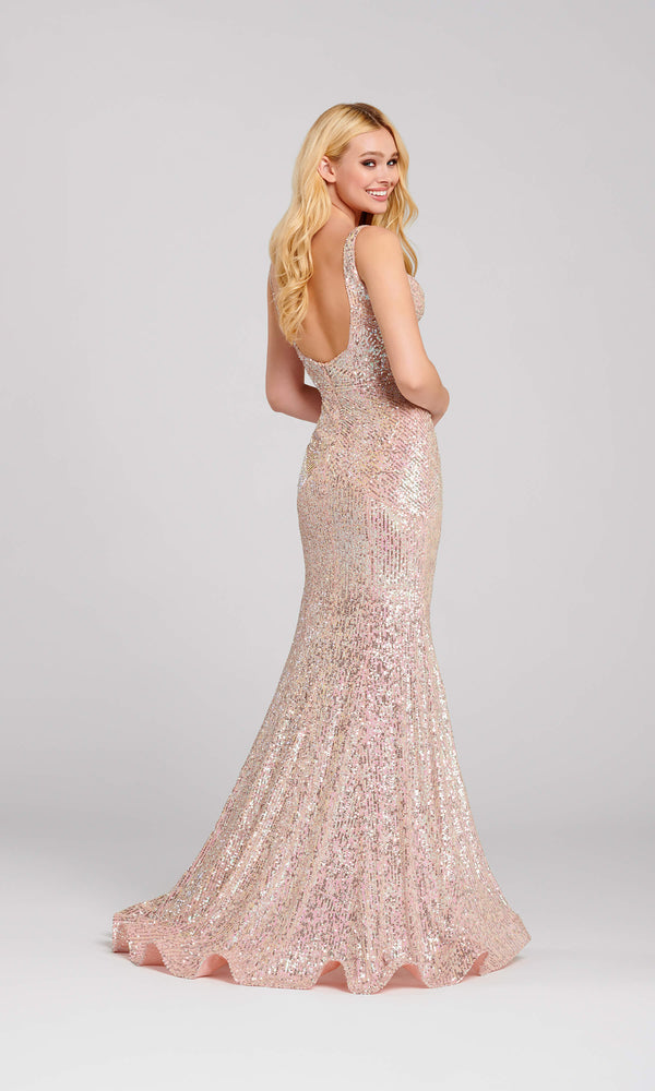 EW120008 Blush Pink Ellie Wilde Sequin Evening Prom Dress - Fab Frocks