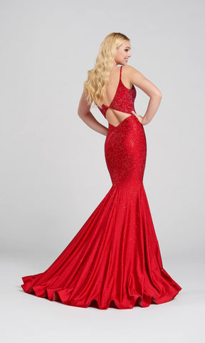 EW120012 Ruby Red Ellie Wilde Diamond Back Evening Prom Dress