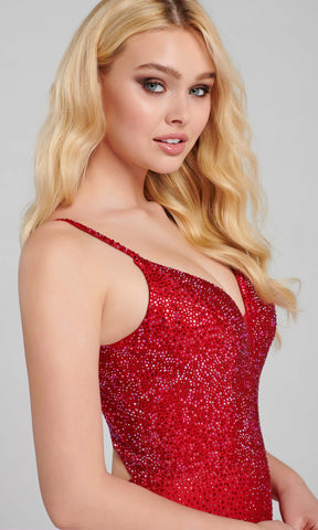 EW120012 Ruby Red Ellie Wilde Diamond Back Evening Prom Dress - Fab Frocks