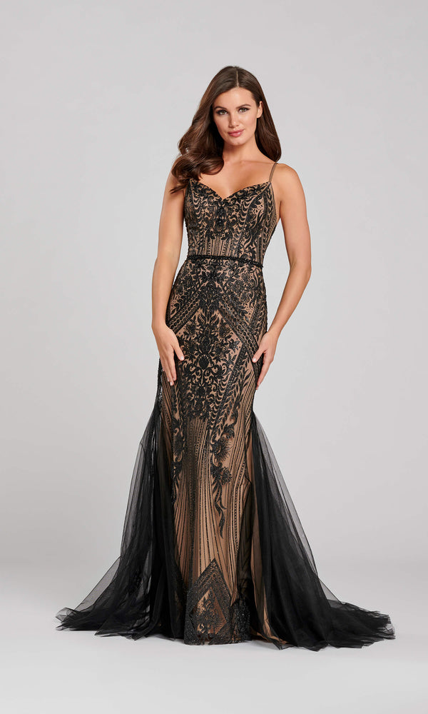EW120045 Black Nude Ellie Wilde Net Train Evening Dress - Fab Frocks