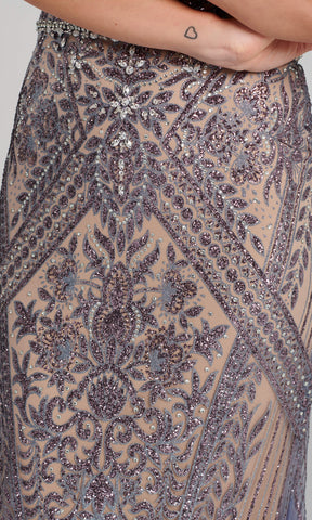 EW120045 Slate Nude Ellie Wilde Net Train Evening Dress - Fab Frocks