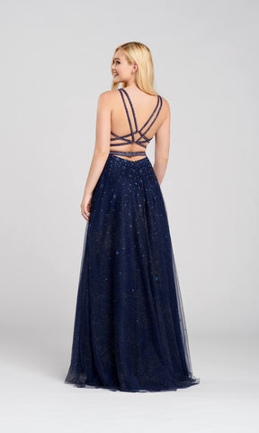 EW120097 Navy Ellie Wilde Plunge Neck Diamante Ballgown - Fab Frocks