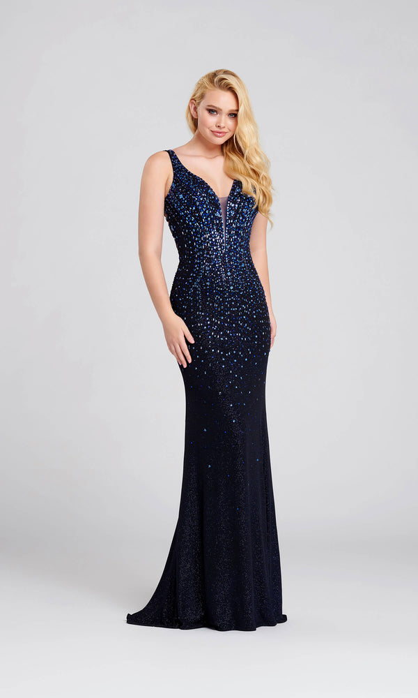 EW120100 Navy Ellie Wilde Beaded Glitter Jersey Dress