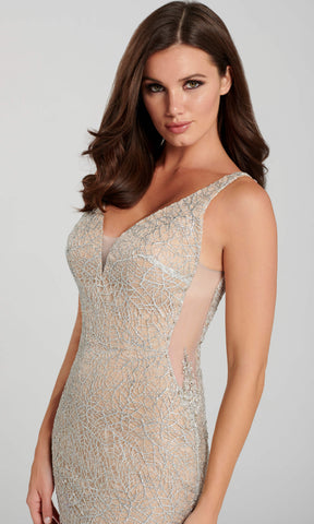 EW120123 Silver Nude Ellie Wilde Web Sparkle Evening Dress