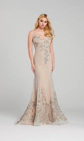 EW120128 Silver Nude Ellie Wilde Diamante Evening Prom Dress - Fab Frocks