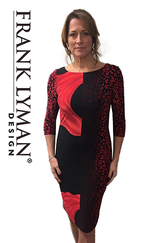183142 Red Black Frank Lyman Print Day Dress With Sleeves