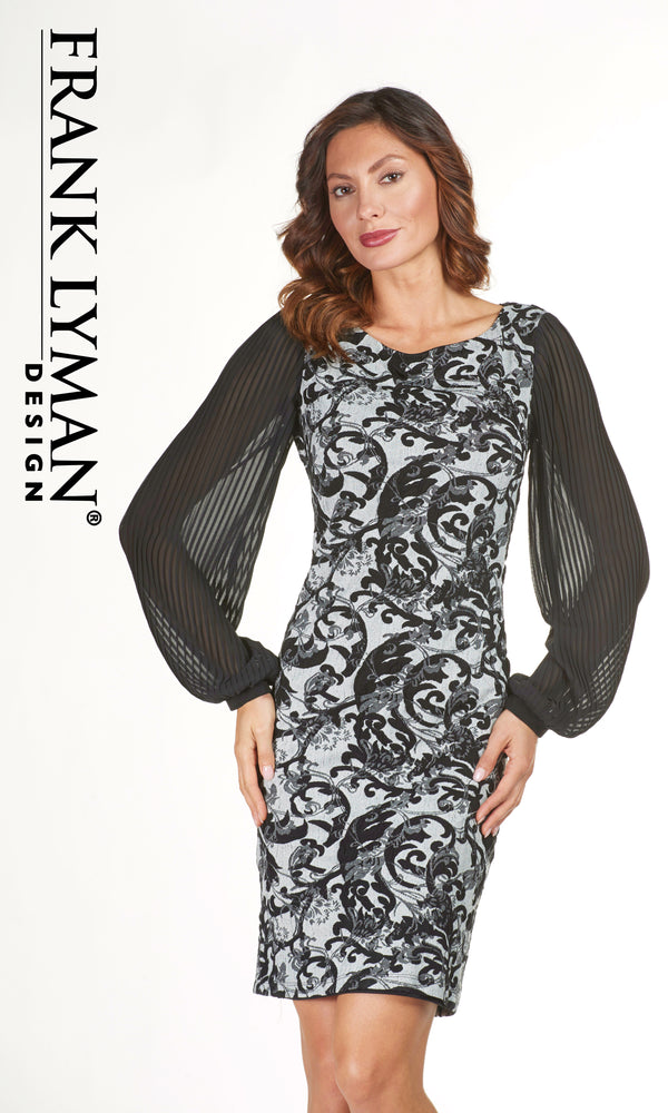 183278 Grey Black Frank Lyman Dress With Pleat Sleeves - Fab Frocks