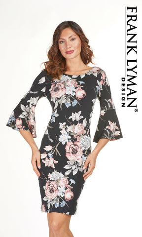 183334 Rose Frank Lyman Print Dress with Bell Sleeves