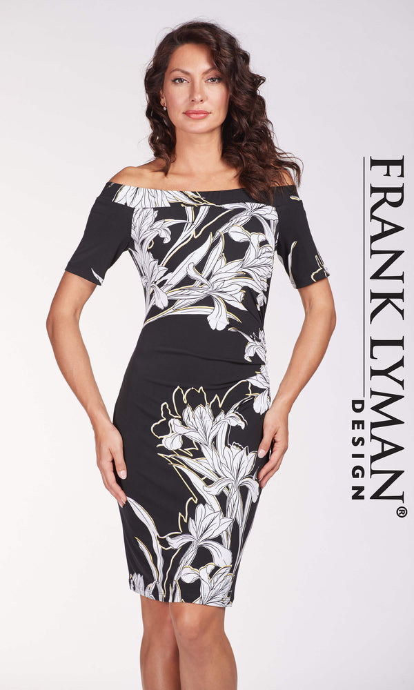 186260 Black Frank Lyman Bardot Dress With Sleeves